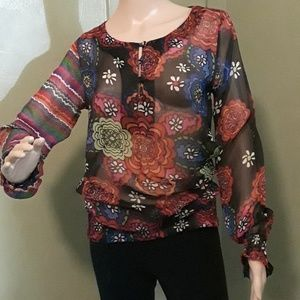 Boho cultural latin top by Desigual sheer M